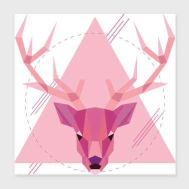 Geometric stag - Poster 20x20 cm
