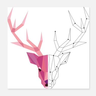 Stag Geometric stag - Poster 20x20 cm