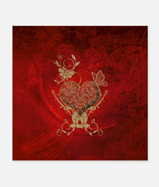 Red Posters - Stunning heart in gold and red - Posters white