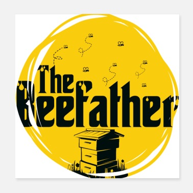 Pollinate The Beefather - bee honey beekeeper flowers honeycomb - Poster