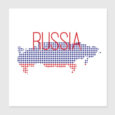 Russia with flag and national colors - Poster 20x20 cm