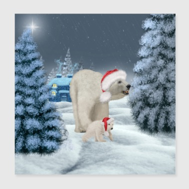 Awesome polar bear with puppy - Poster 20x20 cm