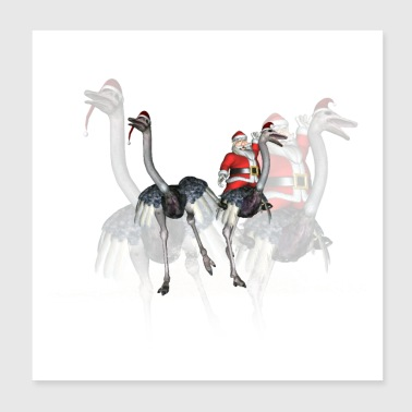 Funny Santa Claus with ostrich - Poster 20x20 cm