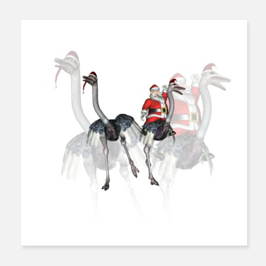 Ostrich Funny Santa Claus with ostrich - Poster
