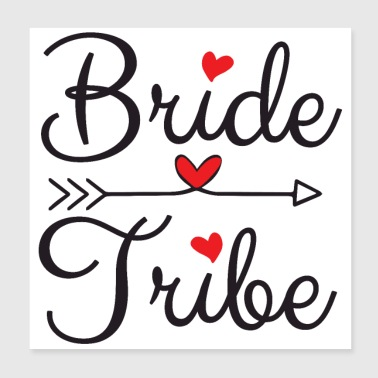 Bachelorette Party Wedding Bride Tribe Herzen - Poster 20x20 cm