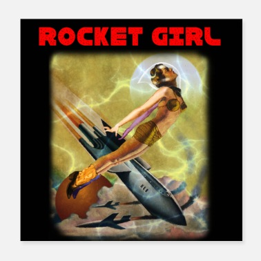 Girlie ROCKET GIRL - Póster 20x20 cm