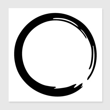 Enso Zen circle meditation yoga Japan sign OM - Poster 20x20 cm