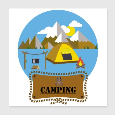 Flat Design Outdoor Camping Campfire Tent Mountains - Poster 20x20 cm