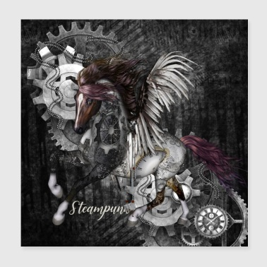 Stunning steampunk horse with wings - Poster 20x20 cm