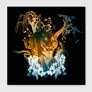 Stunning tiger with flowers - Poster 20x20 cm