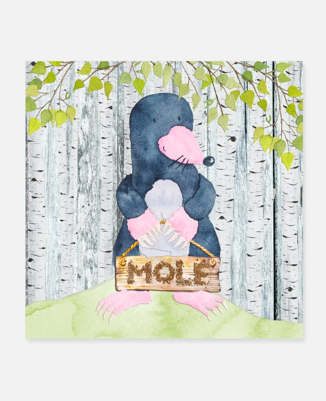 Nature Posters - Animal friends in the forest - The little mole - Posters white