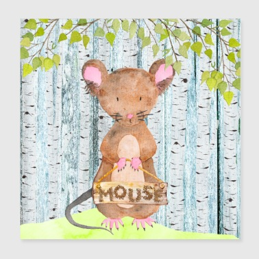 Animal friends in the forest - The little mouse - Poster 20x20 cm