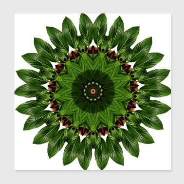 Banana Leaf - Kaleidoscope Nature Pattern - Poster 20x20 cm