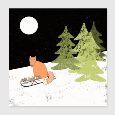 Animal friends in the winter forest - The little fox - Poster 20x20 cm