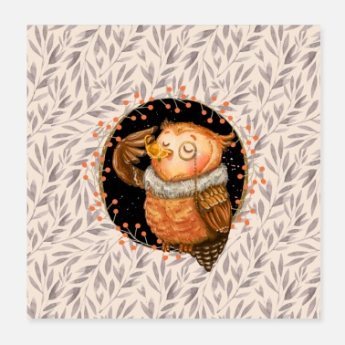 Cosy Autumn forest dwellers - the owl - Poster 20x20 cm