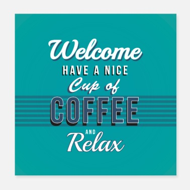 Match Coffee relax sign / poster - Poster 20x20 cm