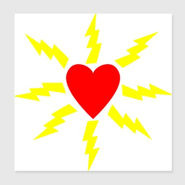 Lightning Heart with flashes - Poster 20x20 cm