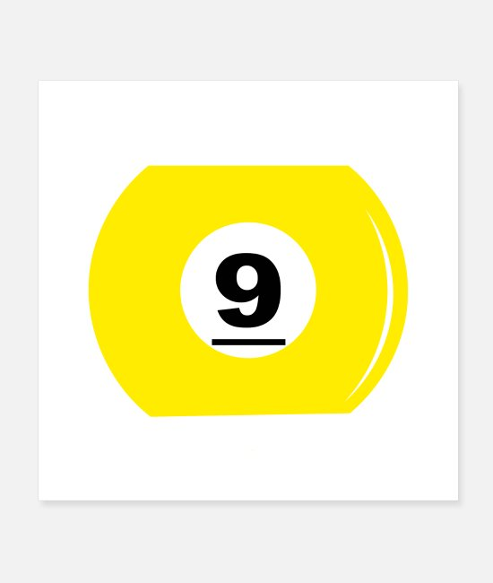 Game Ball Posters - Billiard ball number 9 - Posters white