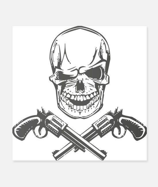 Gang Poster - Skull and Guns - Poster Weiß