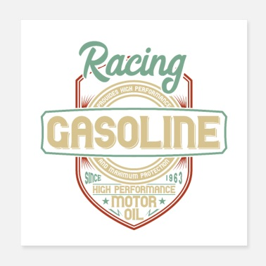 Sportsvogn Racing Bensin High Performance Motor olie - Poster 20x20 cm