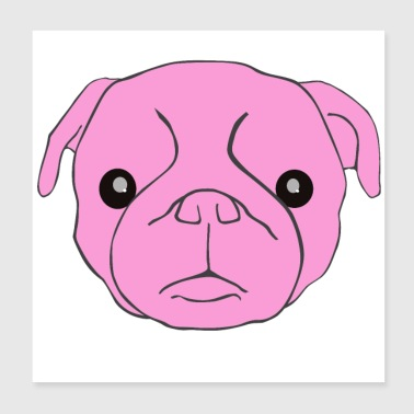 pink pug - Poster 20x20 cm