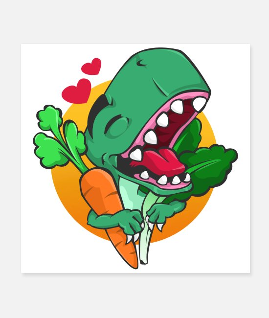 Carnivores Posters - Dinosaurs I love vegetables T-Rex Tyrannosaurus - Posters white