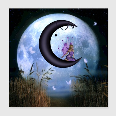 Sit Cute fairy sitting on the moon - Poster 20x20 cm
