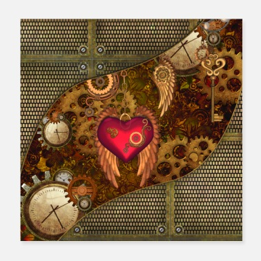 Clock Steampunk wonderful heart with watches - Poster