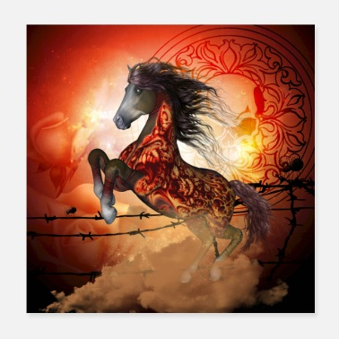Gallop Awesome fantasy horse with skulls - Poster 20x20 cm