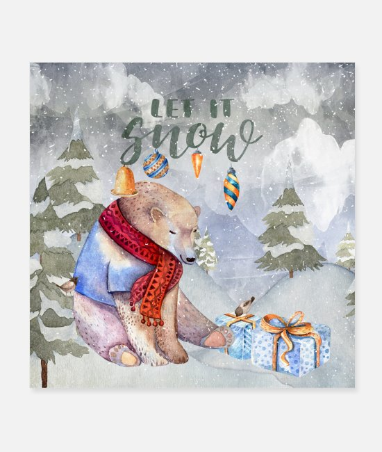 Wild Posters - Christmas greetings - cozy polar bear - Posters white