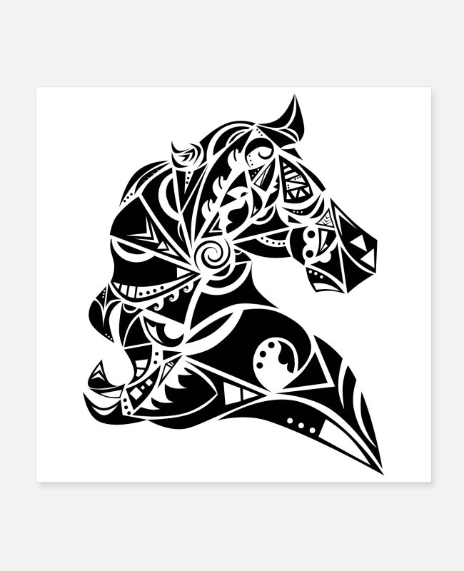 Travel Posters - Maori horse black - Posters white