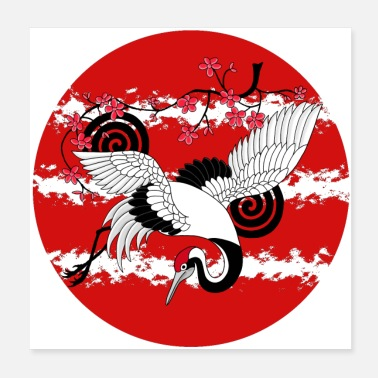 Sun Rising Sun Crane Cherry Blossoms Japanese art - Poster