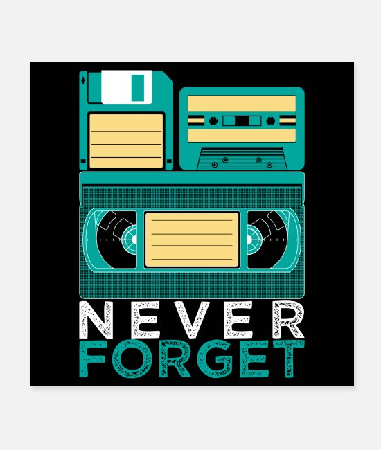 Headphones Posters - Never Forget VHS cassette Eighties Retro disc - Posters white
