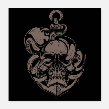 Heavy Metal Skull And Octopus - Poster 20x20 cm
