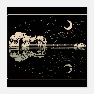 Konsert Guitar Lake Shadow - Musikkinstrument Musiker Band - Poster 20x20 cm