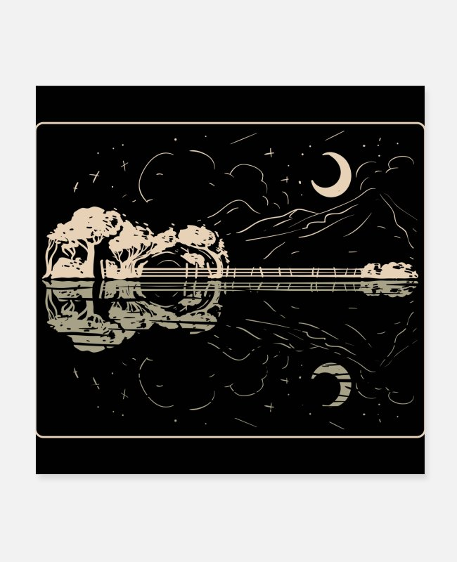 Mountains Posters - Guitar Lake Shadow - Music Instrument Musician Band - Posters white