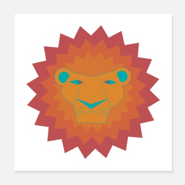 Safari Colorful lion / animal / king / safari - Poster 20x20 cm