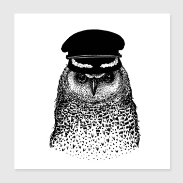 Job OWL CAPTAIN BIRD - Poster 20x20 cm