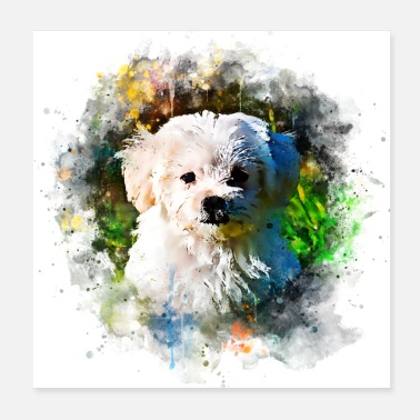 Bow Wow gxp maltese dog watercolor splatter - Poster