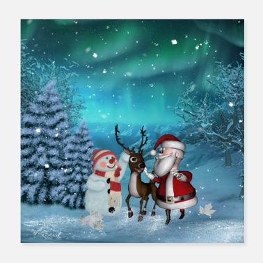Santa Cute Santa Claus with reindeer and snowman - Poster