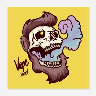 Vaping Skull Steam Vaping Vape Zone Poster - Poster