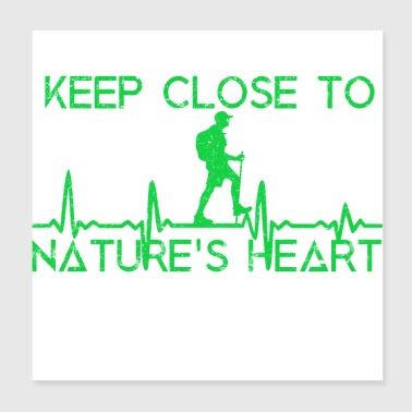 Wilderness Hike ECG hiking heartbeat gift excursion - Poster 20x20 cm