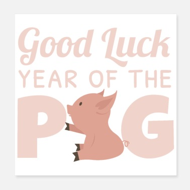 China Good luck in the year of the pig - gift idea - Poster 20x20 cm