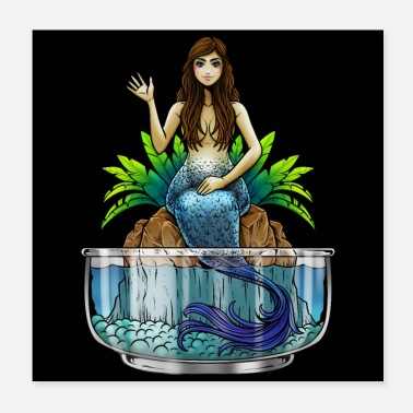 Sea Creatures Mermaid Illustration | Mythical creature mermaid sea - Poster 20x20 cm