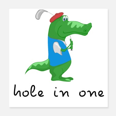 Golf hole in one crocodile - Poster 20x20 cm