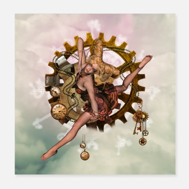 Clock Beautiful steampunk girl in the sky with watches and e - Poster