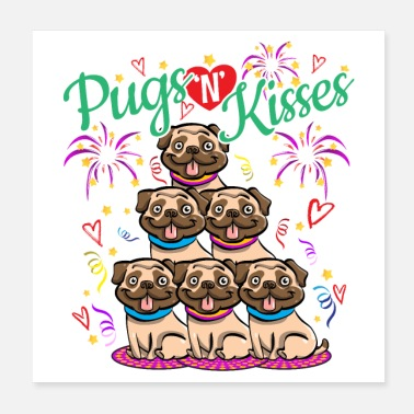 Snel Pugs N Kisses Miss You - Word snel cadeau-idee - Poster 20x20 cm