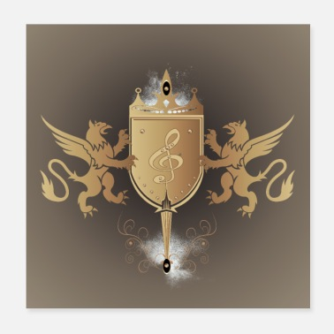 Shield Decorative key music in a shield - Poster 20x20 cm