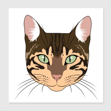 Leopard Bengal cat bengal cat gift man woman child - Poster 20x20 cm