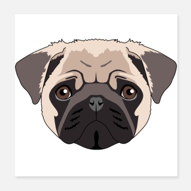 China Pug dog gift man woman carlino - Poster 20x20 cm